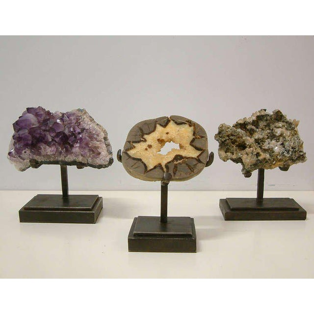 Metal 1990s Rock Crystal With Metallic Deposits Mounted on a Custom Maurice Beane Studios Stand For Sale - Image 7 of 9