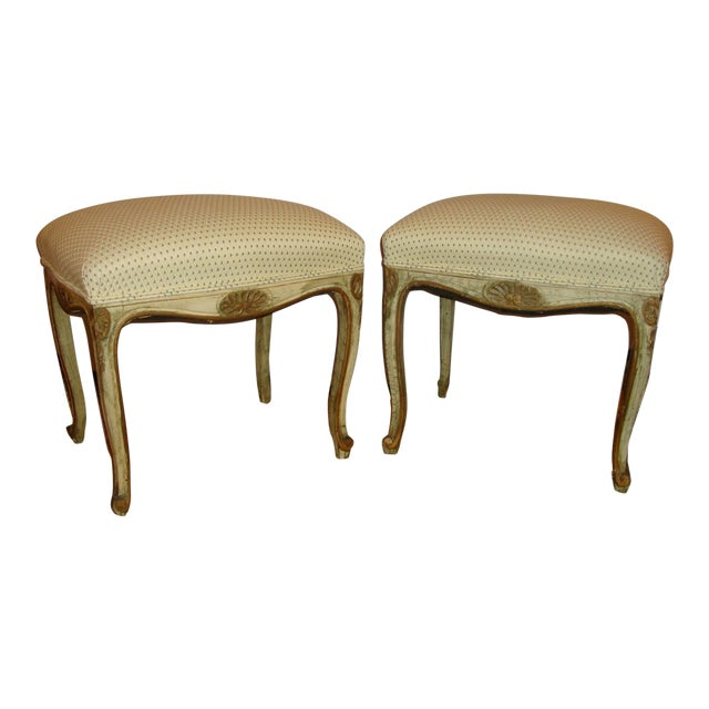 French Painted Stools - A Pair For Sale