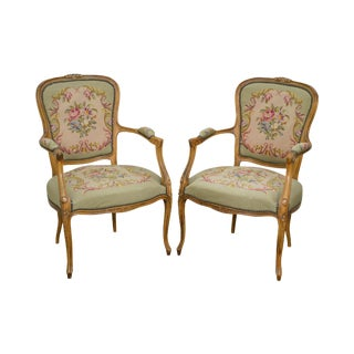 French Louis XV Style Vintage Needlepoint Arm Chairs Fauteuils - A Pair