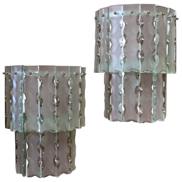 Glass Pair of Italian Beveled Glass Sconces by Cristal Art For Sale - Image 7 of 7