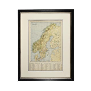 1920s Vintage Norway/Sweden Map For Sale