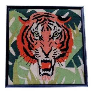 MCM Framed Needlepoint Tiger With Palm Leaves For Sale