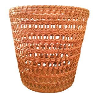 1980s Wicker Waste Basket For Sale