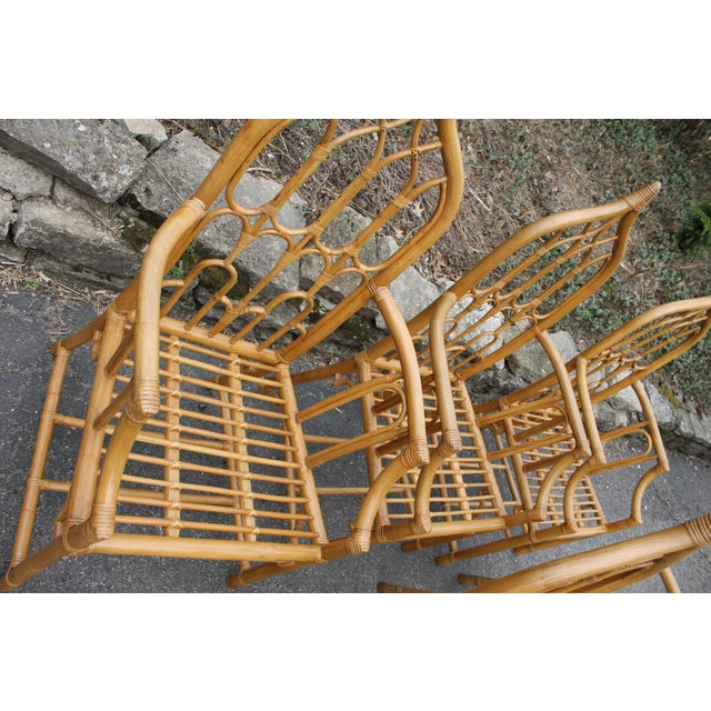 1970s McGuire Style Rattan Bamboo Gothic Cathedral Chairs All Arm Chairs - Set of 2 For Sale - Image 9 of 12