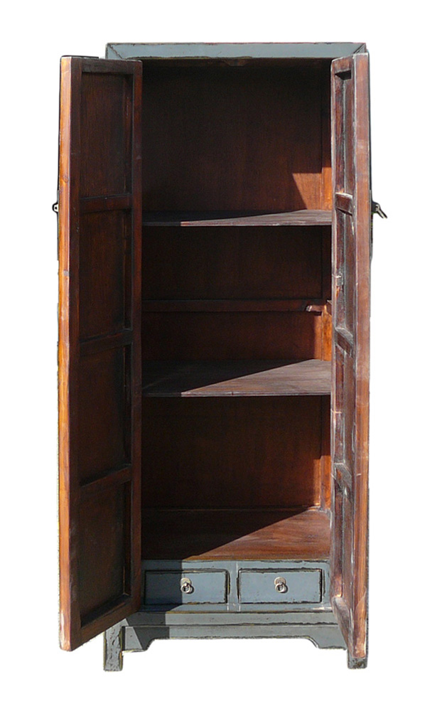 Chinese Rustic Gray Tall Narrow Storage Cabinet   Image 4 Of 5