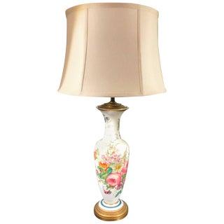 1840s French Opaline Enamel Painted Vase Lamp