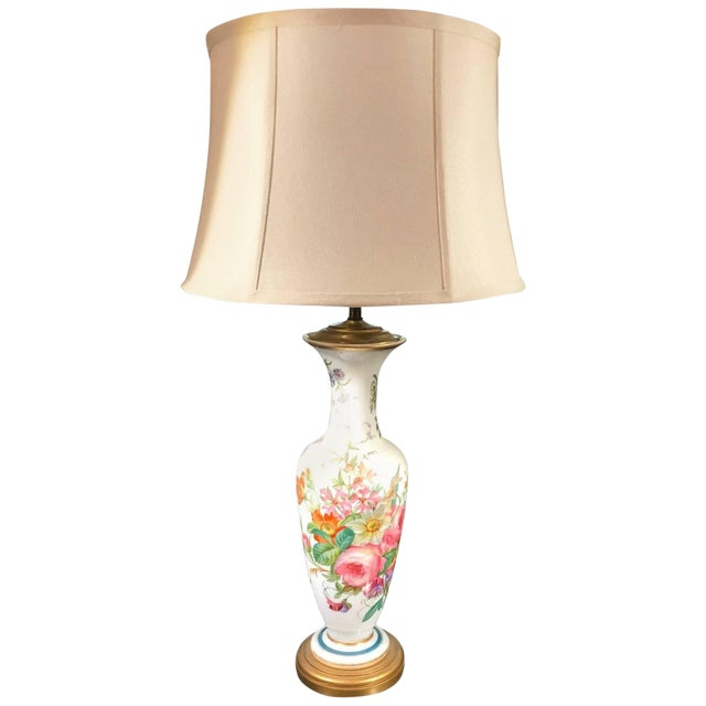1840s French Opaline Enamel Painted Vase Lamp For Sale