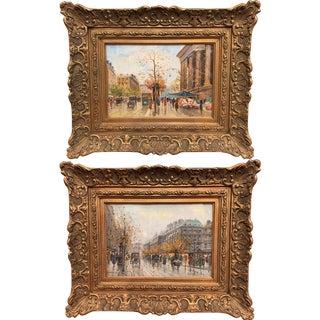 Pair of Paris Scenes Gouache Paintings in Gilt Frames Signed Henri La Touche For Sale