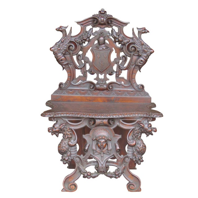 Italian 19th C. Horner Style Figural Carved Bench - Image 1 of 9