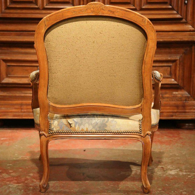 19th Century French Louis XV Carved Walnut Armchair With Aubusson Tapestry For Sale - Image 10 of 11
