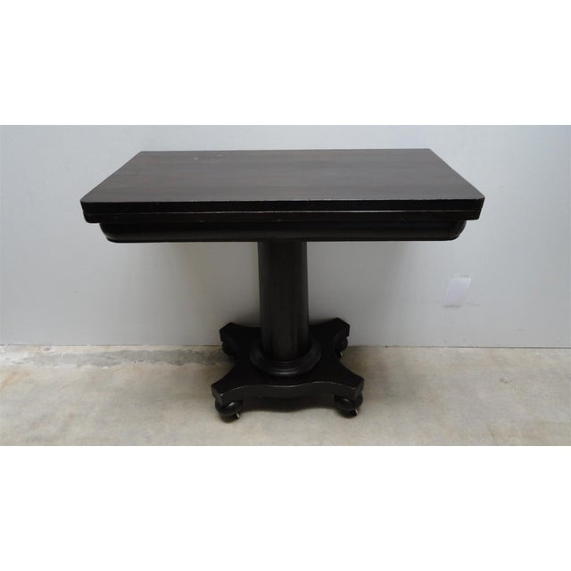 Late 19th Century Antique Ebonized Empire Game Table and Console For Sale - Image 5 of 11