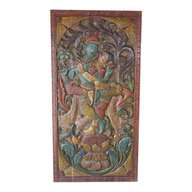 Vintage Hand Carved Krishna Radha Fluting Standing on Lotus Indian Wall Hanging Barn Door For Sale