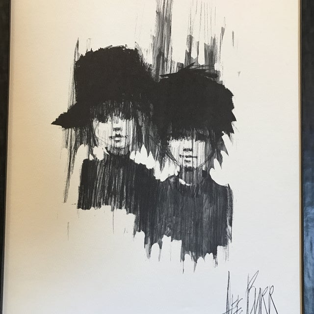 "Lee Burr Mid-Century ""Two Girls"" Print - Image 4 of 6"