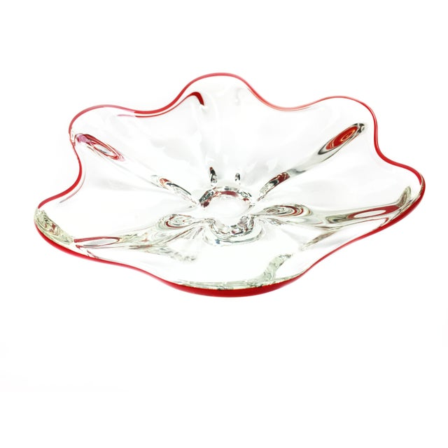 Large vintage hand blown thick glass bowl with red rim, by Walther Glas of Germany. This beautiful piece is sure to be a...