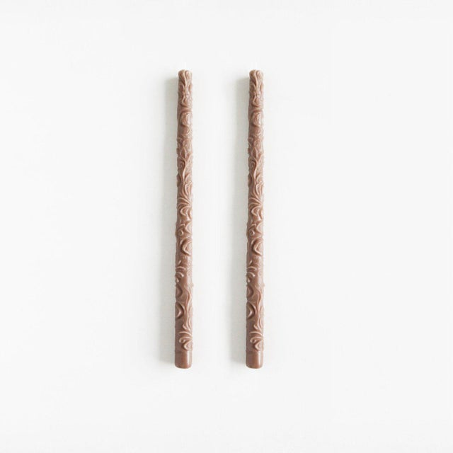 Modern Flora Taper Beeswax Candles in Fawn - a Pair For Sale - Image 3 of 3