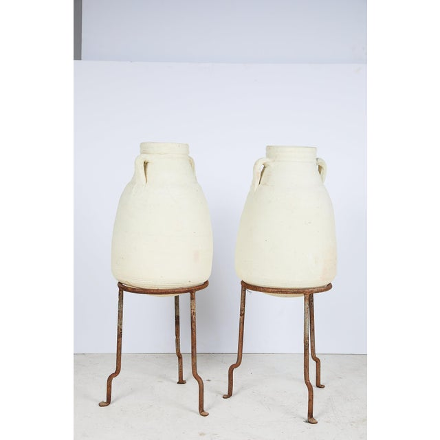 Pair of Vintage Mediterranean White Clay Vessels on Forged Iron Stands For Sale - Image 10 of 12