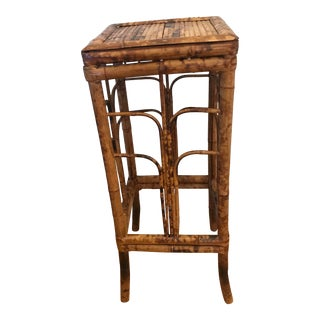 Vintage Burnt Bamboo Plant Stand Side Table For Sale