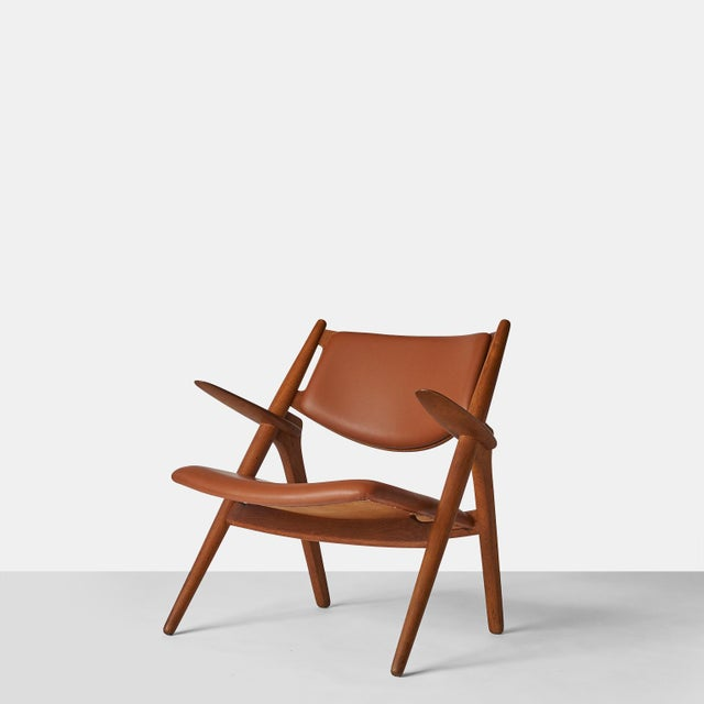 Mid-Century Modern Pair of Sawbuck Chairs, Model Ch-28 by Hans Wegner For Sale - Image 3 of 8