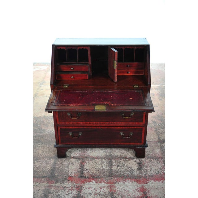 Traditional 19th C. English Inlaid Mahogany Drop Desk For Sale - Image 3 of 11