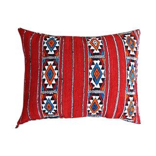 Blue & Orange Diamonds Moroccan Pillow For Sale