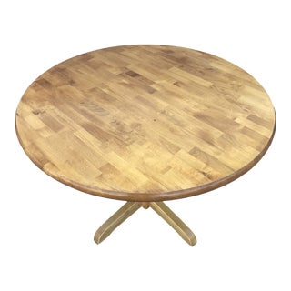 "1980s Butcher Block 42"" Round Dining Table For Sale"