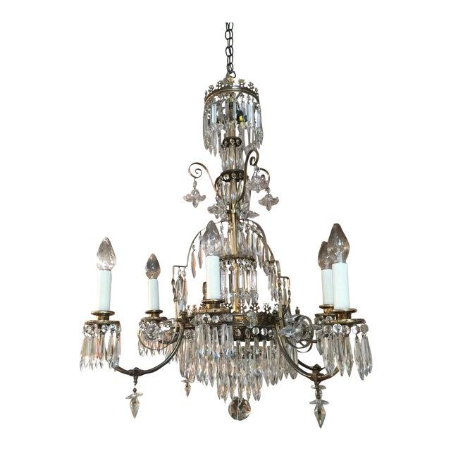 Large Crystal & Bronze Chandelier For Sale