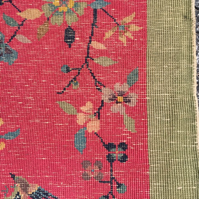 Chinese Art Deco Nichols Red and Green Rug - 2′11″ × 4′11″ For Sale - Image 11 of 12