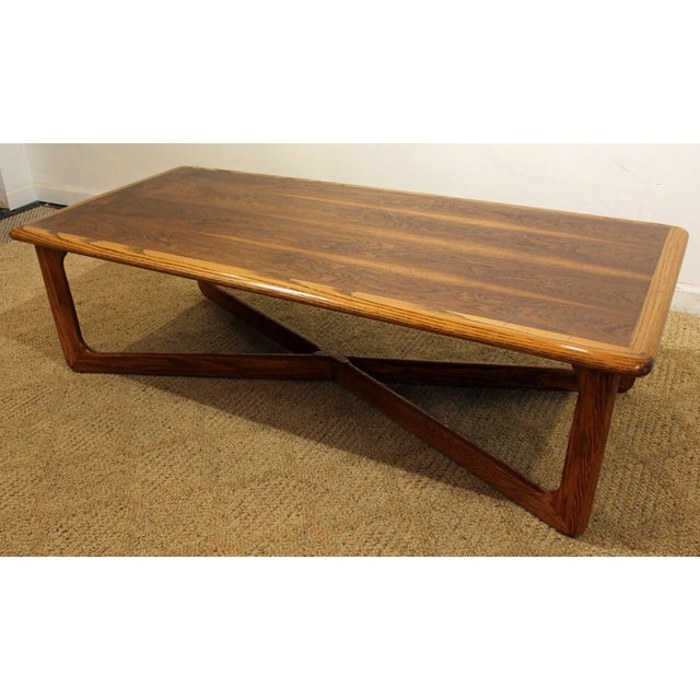 Mid Century Lane Copenhagen Drop Leaf Coffee Table: Lane Perception Mid-Century Oak Walnut X-Base Coffee Table
