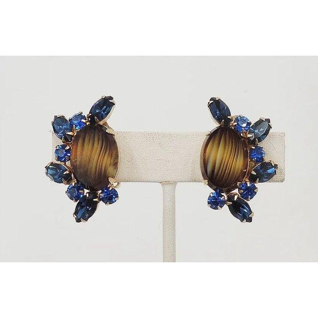 Mid-Century Modern 1960s Hattie Carnegie Striped Rhinestone Earrings For Sale - Image 3 of 9