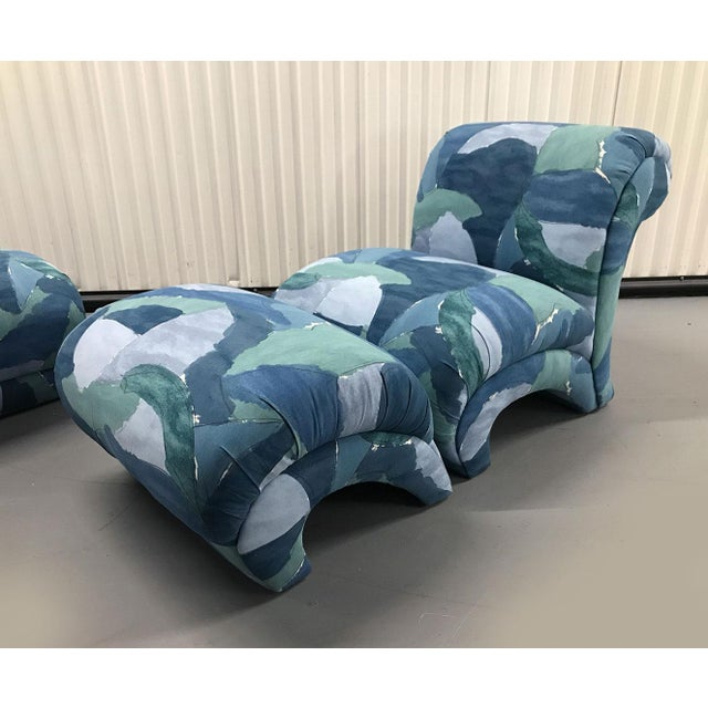 1980s 1980s Chairs and Ottoman Upholstered in 'Watercolor' Abstract Fabric For Sale - Image 5 of 10