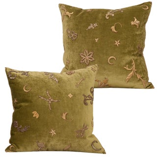 Pair of Antique Textile Pillows by b.viz Designs For Sale