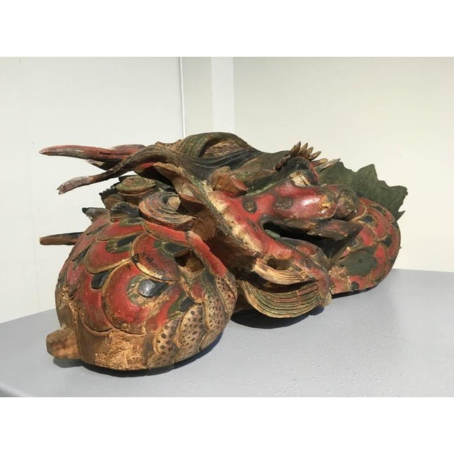 Asian Chinese Folk Carved and Painted Wooden Dragon For Sale - Image 3 of 9