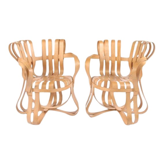 1990s Vintage Frank Gehry Cross Check Chairs- A Pair For Sale