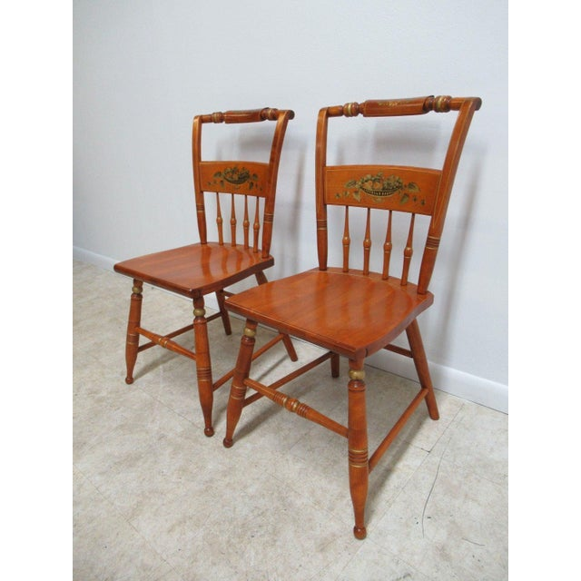 French Country Bent Brothers Plank Bottom Hitchcock Style Dining Chairs - A Pair For Sale - Image 3 of 11
