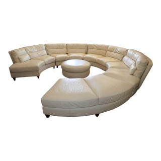 Chateau d'Ax Italian Leather Sectional Sofa With Ottoman For Sale