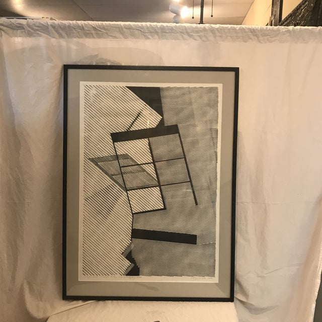 Lithograph 1980 Geometric Modern Lithograph For Sale - Image 7 of 7