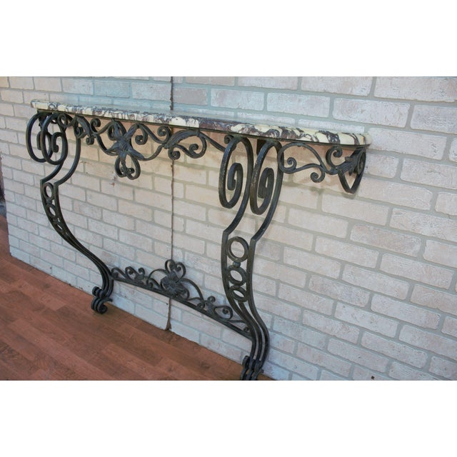Antique French Victorian Wrought Iron Base Console Table For Sale - Image 4 of 13