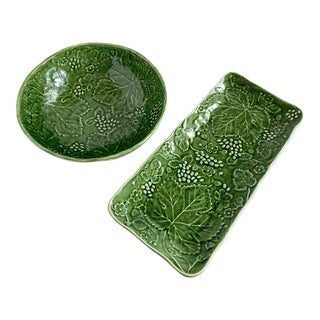 Majolica Green Leaf Salad Bowl and Rectangular Platter by Olfaire For Sale