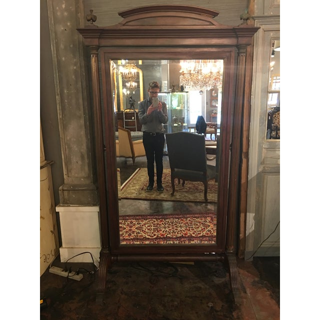 Louis XVI Style Solid Mahogany Cheval Mirror For Sale - Image 13 of 13