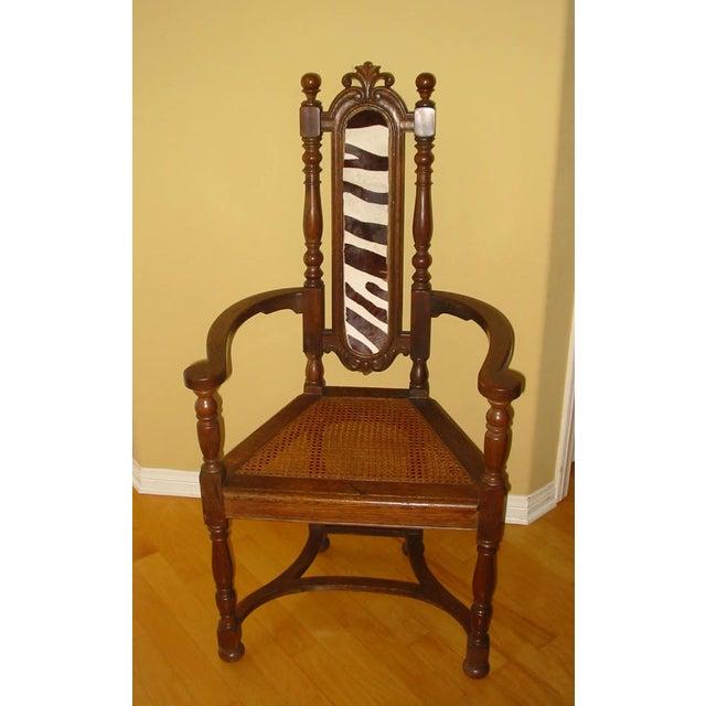 Berkey & Gay Jacobean Cane & Cowhide Arm Chair - Image 2 of 11