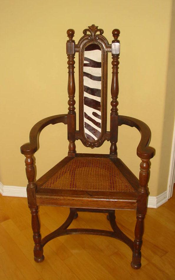 Berkey U0026 Gay Jacobean Cane U0026 Cowhide Arm Chair   Image ...