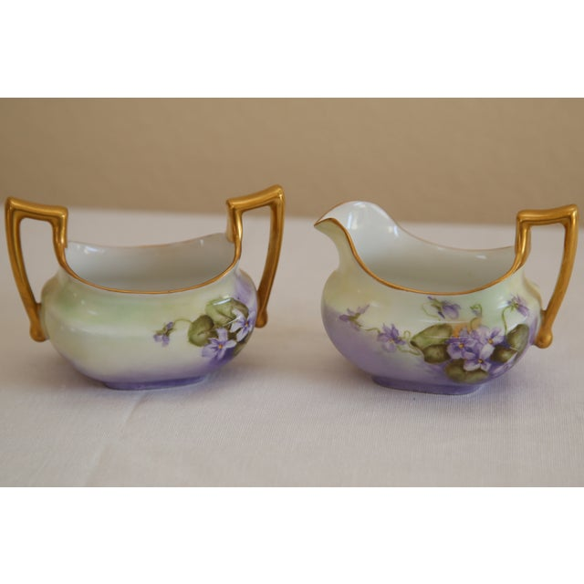Limoges Hand-Painted Sugar & Creamer - Image 2 of 5