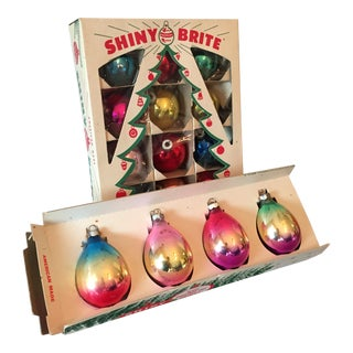 Vintage Boxed Multi-Colored Ornaments - A Pair