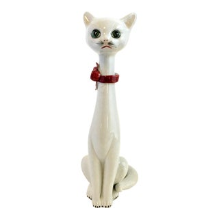 Hollywood Regency Italian Ceramic Cat Statue