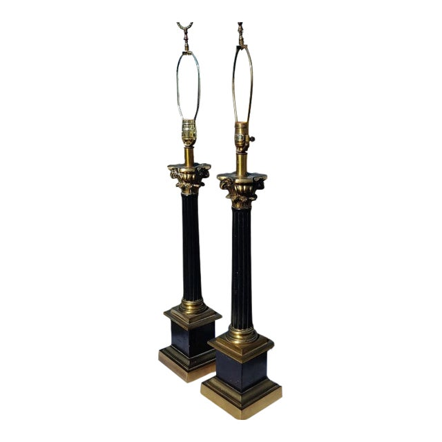 Mid Century Modern Black and Gold Metal Lamps - a Pair For Sale