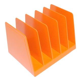 Mid-Century Modern Orange Plastic Office File For Sale