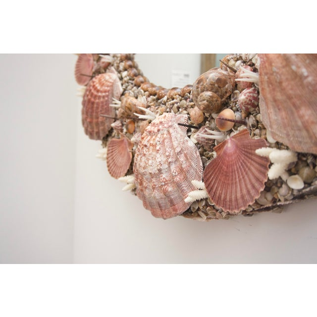 Hollywood Regency Hollywood Regency Round Seashell Encrusted Wall Mirror For Sale - Image 3 of 5