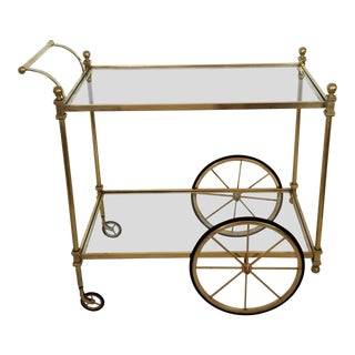 1960s Hollywood Regency Style Brass Bar Serving Cart For Sale