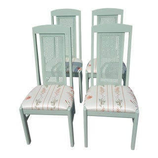 Set of 4- Mid Century Sage Green Caned Schumacher Fabric Upholstered Dining Chairs For Sale
