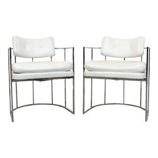 Pair of Mid-Century Modern Milo Baughman Thayer Coggin Chrome Arm Chairs